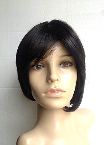 Natural-Look Wig Bob Pixie Tousle Brunette Darkest Dark Brown (#2) for Regular Wear or Halloween Party Cosplay Heat Friendly Fire Resistant Kanekalon (BONUS: 2 Wig Caps Provided)