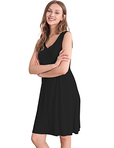 (GYS Womens Bamboo Viscose Sleeveless V Neck Nightgown (L,)