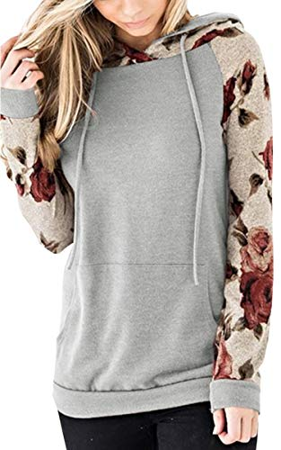 Gray Floral Pullover - Angashion Women's Floral Printed Long Sleeve Pullover Hoodies Sweatshirt with Pocket Gray L