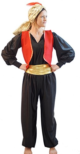 [World Book Day-Panto-Aladdin GENIE OF THE LAMP SULTAN HAT with FEATHER Black Child's Fancy Dress Costume - All Ages] (Genie Costumes For Teens)