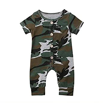 Hotwon Newborn Baby Boy Camouflage Romper Jumpsuit Short Sleeve One-Piece Bodysuit Casual Summer Playsuit Outfits (100(18-24 M), Camouflage)