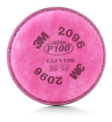 3M 2000 Series Respirator Prefilters, 2096 P100 Filter w/Acid Gas - 2 Count ()