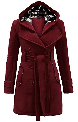 Pivaconis Womens Classic Double-Breasted Belted Hood Lapel Outwear Peacoat Wine Red XL -