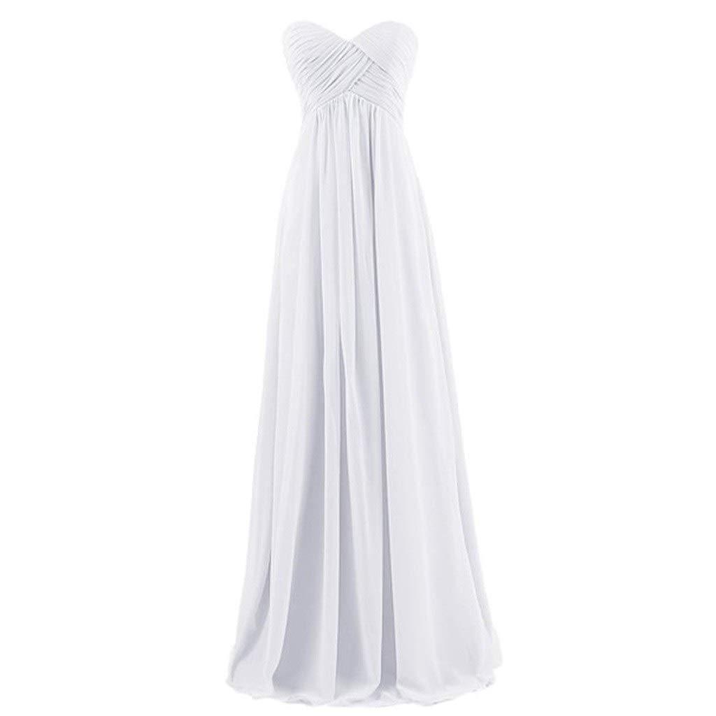 Robe de mariée Demoiselle d'honneur Robe Longue Soeur Jupe Robe De Soirée Tube Top Conception sans Manches (Couleur   Blanc, Taille   10)