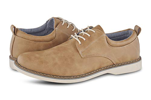 Members Only Men's Plain Toe Oxford Classic Business Casual Shoes - Tan 11