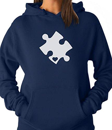 TeeStars - Autism Awareness Heart Cut Puzzle Women Hoodie Medium Blue