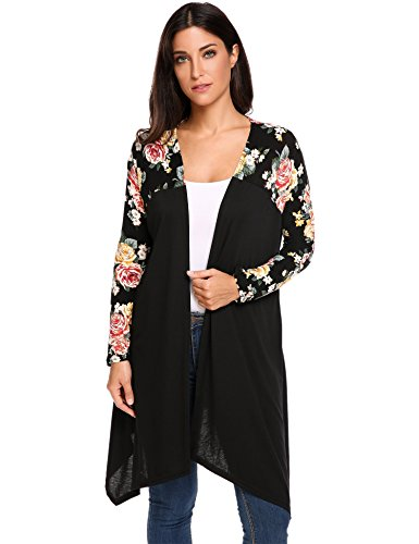 Floral Long Sleeve Cardigan (Beyove Women's Open Front Asymmetric Hem Floral Long Sleeve Cardigan)