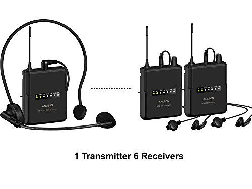 ANLEON MTG-200 wireless tour guide & language interpretation system 915Mhz (6 Receivers) ()