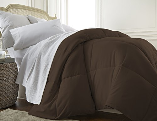 ienjoy Home Home Collection Premium Luxury Down Fiber Comforter, California King, Chocolate