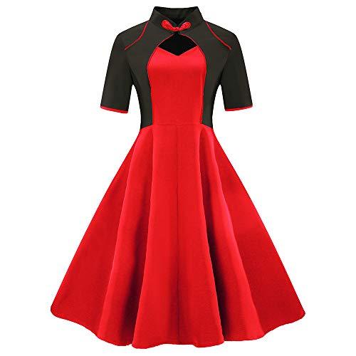 Rakkiss Womens Short Sleeve Patchwork Vintage Dress Retro Dress Flare Dress
