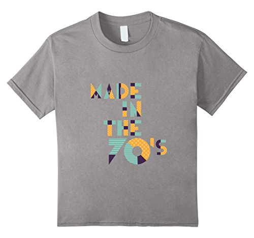 [Kids Made In The 70's - Funny 1970 70s Retro Age T-Shirt 6 Slate] (70s Era Clothing)