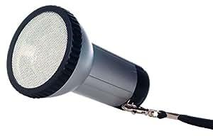Megáfono de bolsillo antigolpes, negro y plateado, de metal