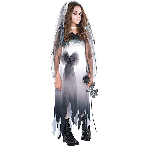 Cemetery Angel Halloween Costume (Amscan Graveyard Bride Halloween Costume for Girls, Medium, with Included)