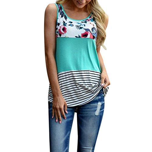 Fishing Sleeveless T-shirt - TLTL Women Floral Print Lace Patchwork Tank Top Vintage Casual Sleeveless T-Shirt (L, Green)