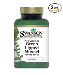 Swanson New Zealand Green Lipped Mussel Freeze Dried 500 mg - 60 capsules (Pack of 3)