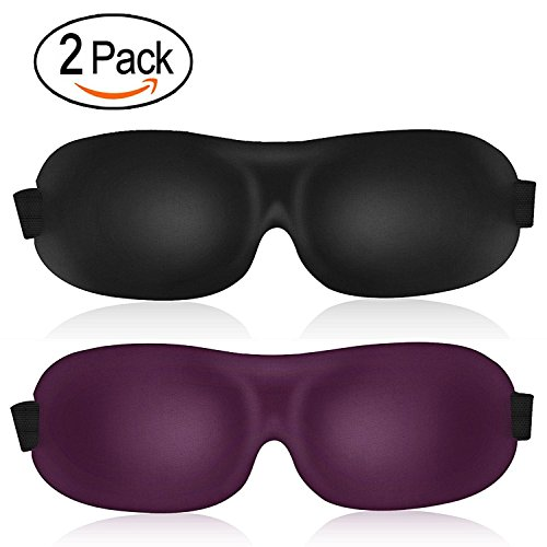 3D Sleep Mask (leeken New Design 2 Pack) Eye Mask for Sleeping - Contoured Eyemask - Blindfold Airplane mask- Night Blinder Eyeshade for Men Women