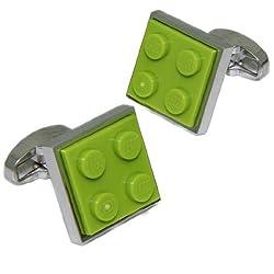 Lime Green Lego Brick Cufflinks | Cuffs & Co