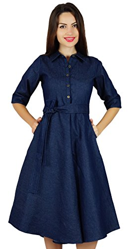 Bimba Womens Blue Denim Shirt Dress With Pockets 3/4 Sleeve Casual Midi Dresses