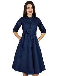 Womens Blue Denim Shirt Dress with Pockets 3/4 Sleeve Casual Midi Dresses