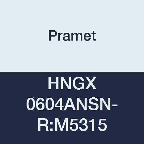 Black HNGX 06 Style Pramet HNGX 0604ANSN-R:M5315 Carbide Cast Iron Hardened Material K25,H20 Pack of 10 120 Degree Hexagon Insert for Econ HN Milling Cutter CVD