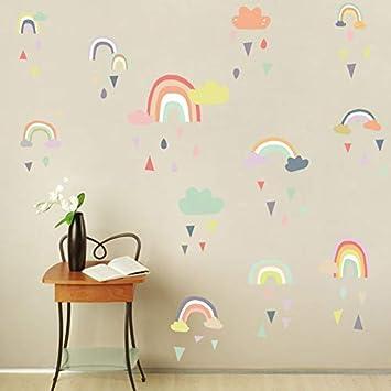 Colorful Rain Rainbows Wall Decal,Raindrop Wall Sticker,Rainbow Wall  Sticker For Kids Room