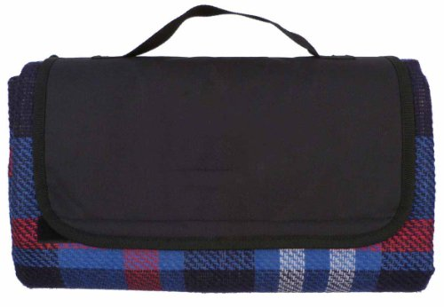 2 Bulk Lot Wholesale Outdoor Camping All Purpose Mat Waterproof Picnic Stadium Blanket with Carrying Strap, Plaid - Blue