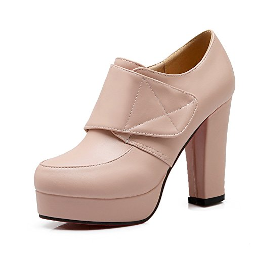 BalaMasa Plateau Pink Absatz mit Lederpumps Schuhe imitierte Ring Klettverschluss in klobige Mädchen ffrqwOCU