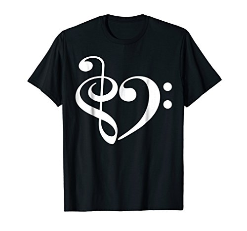 Treble Clef and Bass Clef Heart Music Lover T-Shirt
