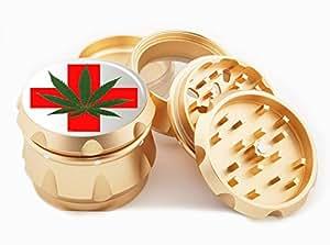 "Weed Design Premium Grade Aluminum Tobacco,Herb Grinder -4Pcs Large (2.5"" Gold) # GLD-G022115-042"