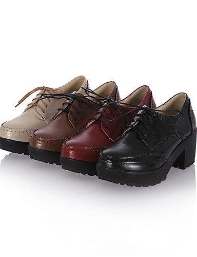 NJX/ Damenschuhe - Oxfords - Büro / Kleid / Lässig - Kunststoff - Blockabsatz - Absätze / Pumps - Schwarz / Braun / Rot / Beige 2in-2 3/4in-black