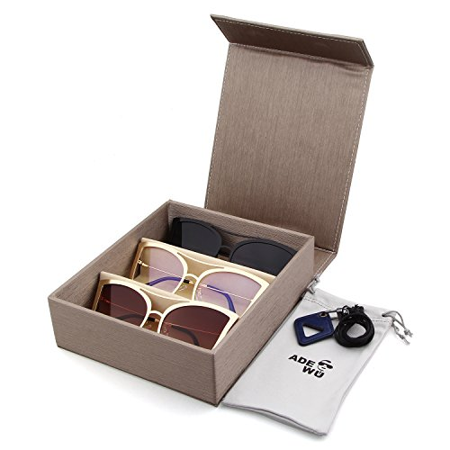 Adewu 3 Polarized Group Sunglasses with Three Grid Travel Eyeglass Case for Couples - Sunglasses Couple