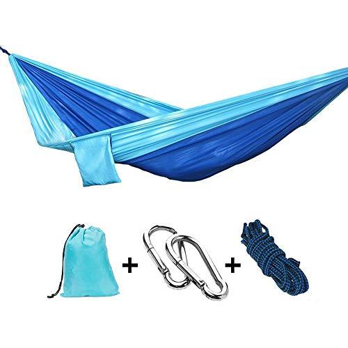 OuTera Camping Hammock, Portable Comfortable Hammock, Durable Canvas Lightweight Single Hammock, Adjustable Easy to Fix Anti-Rollover Parachute Outdoor Hammock for Travel, Beach, Yard (Blue Hammock)