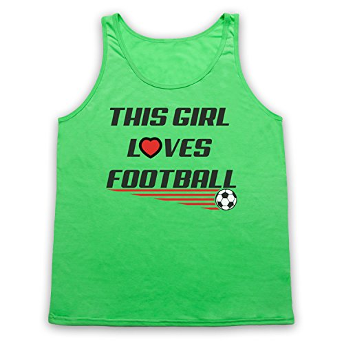 This Girl Loves Football Football Slogan Tank-Top Weste, Neon Grun, XL
