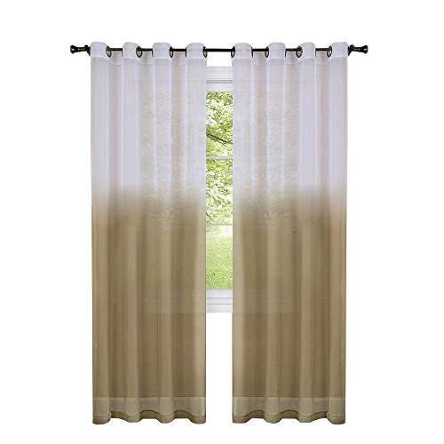 GoodGram 2 Pack Semi Sheer Ombre Chic Grommet Curtain Panels - Assorted Colors (Tan)