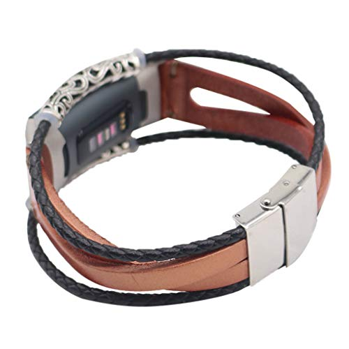 Cywulin Genuine Leather Replacement Bands Compatible for Fitbit Charge 3, Retro Smart Watch Bracelet Bangle Accessories Classic Strap Wrist Loop with Stainless Steel Metal Connectors Clasp (Rose Gold) - Metal Fancy Connector