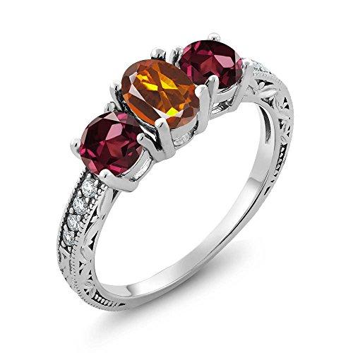 Gem Stone King 2.02 Ct Orange Red Madeira Citrine Red Rhodolite Garnet 925 Sterling Silver Ring (Size 7)