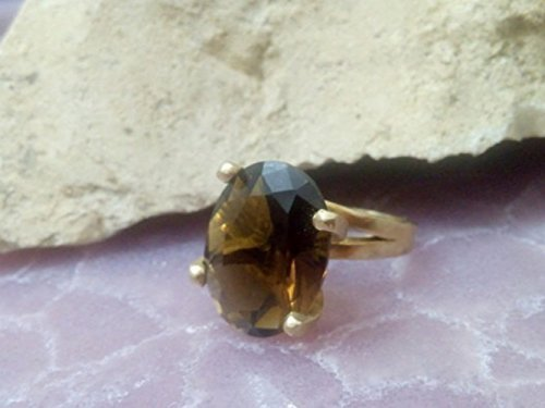 Gemstone ring,oval ring,smoky quartz ring,brown ring,topaz jewelry,gold ring,faceted ring,vintage ring,statement ring,cocktail ring
