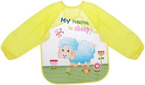 Healifty Waterproof Lunch Feeding bib Sleeved Bib Baby Bib Waterproof Toddler Bib Smock Washable Stain and Odor Resistant Painting Clothes(Yellow Sheep)