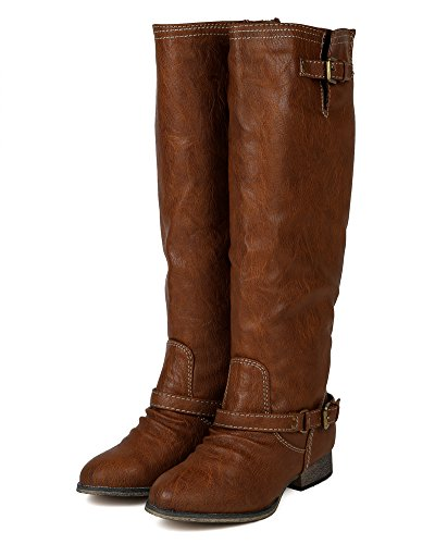 Breckelles Breckelle Bc80 Kvinnor Läder Spänne Ridning Knähöga Stövel Tan