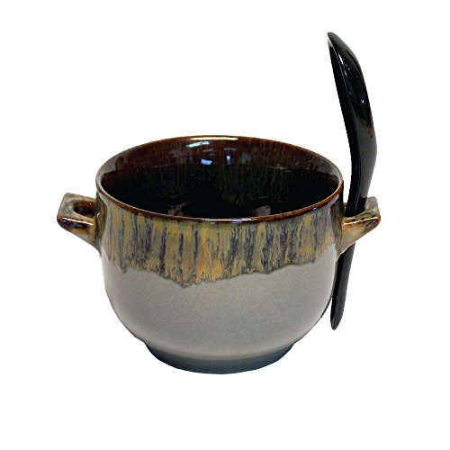Bowl and Spoon Combo - Ceramic Glazed Art Deco Soup, Cereal and Rice Bowl (Grey)