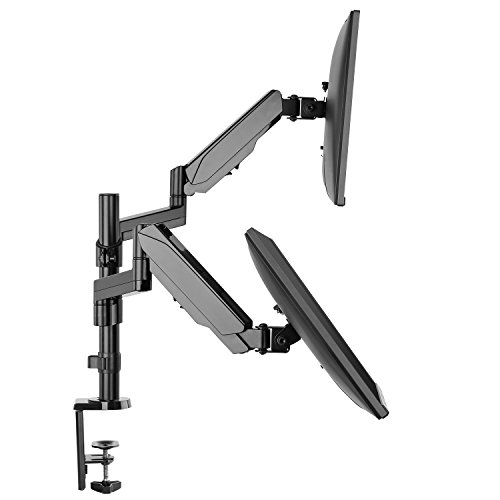 Dual Arm Monitor Stand - Full Motion Adjustable Gas Spring Monitor Mount Riser with C Clamp/Grommet Base for Two 17 to 32 inch LCD Computer Screens, Each Arm Holds up to 17.6lbs, Bonus HDMI Cable