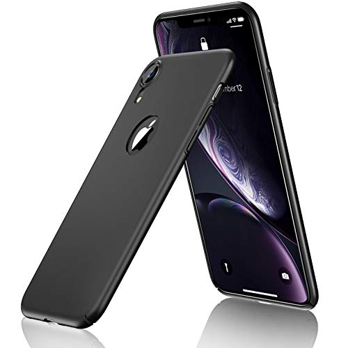 CASEKOO iPhone XR Case, Slim Fit Ultra Thin Case Hard Matte Finish Phone Case (Logo Visible) with Great Grip Anti-Scratch Cover [Shell Series] Only for iPhone XR 6.1 inch - Black
