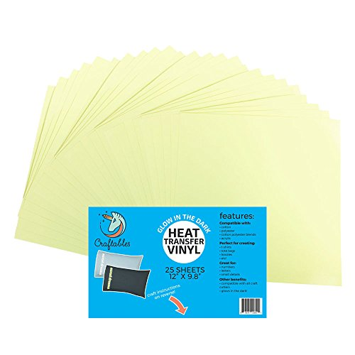 (25 Sheets) Craftables HTV Glow In The Dark Viny Heat Tra...