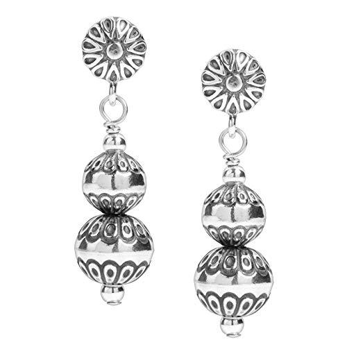 - American West Sterling Silver Native Pearl Beaded Dangle Earrings
