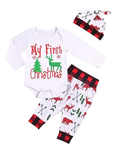 Baby Boy Christmas Outfit My First Christmas Long Sleeve Romper + Bear Pants + Hat Clothes Set 3Pcs