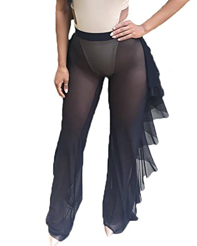 Women Sexy Perspective Ruffle Mesh Sheer Swim Pants Bikini Bottom Cover Up (M, Black)