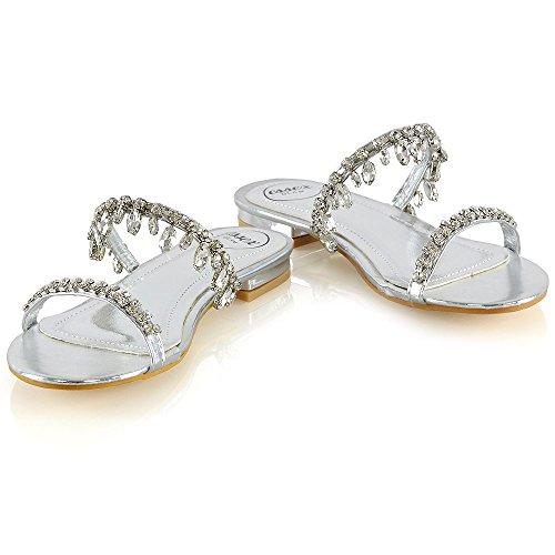 ESSEX GLAM Mujer Plano Sandalias Señoras Ponerse Fiesta Diamante Zapatos Plata Metálico