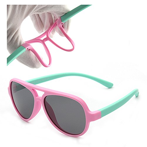 Vivic Tpee Silcon Flexible Kids Polarized Sunglasses For Boys Girls Pink Green