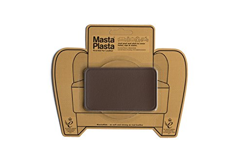 "MastaPlasta, Leather Repair Patch, First-Aid for Sofas, Car Seats, Handbags, Jackets, Plain, Mid Brown Medium Stitch 4""x2.4"""