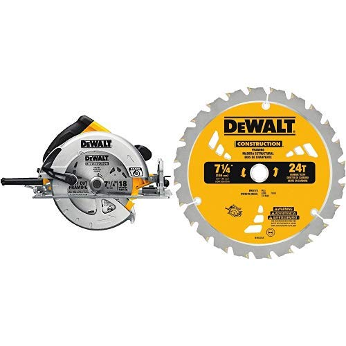 (DEWALT DWE575SB 7-1/4-Inch Lightweight Circular Saw with Electric Brake with DW3578B3 7.250 24T Framing Saw Blade Black, 3-Pack)